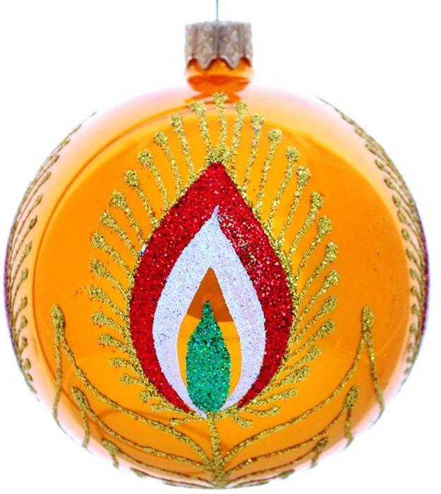 Украшение новогоднее подвесное Клавдиево Жар-птица на золотом, ручная работа, диаметр 8 смH-80-28154-S-Жар птица на золотомНовогоднее украшение Жар-птица на золотом ручной работы, выполненное из стекла, отлично подойдет для декорации вашего дома и новогодней ели. С помощью специальной петельки украшение можно повесить в любом понравившемся вам месте. Но, конечно, удачнее всего оно будет смотреться на праздничной елке.Елочная игрушка - символ Нового года. Она несет в себе волшебство и красоту праздника. Такое украшение создаст в вашем доме атмосферу праздника, веселья и радости.