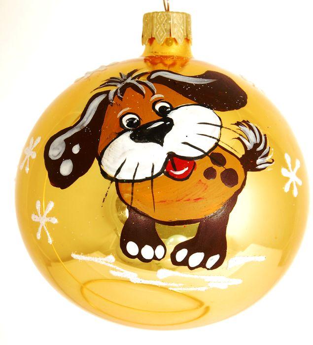 Украшение новогоднее подвесное Собака Тузик, ручная работа, диаметр 8 смH-80-28154-S-Собака Тузик