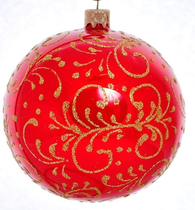 Украшение новогоднее подвесное Тычинковый узор на красном, ручная работа, диаметр 8 смH-80-2984-S-Тычинковый узор на красном