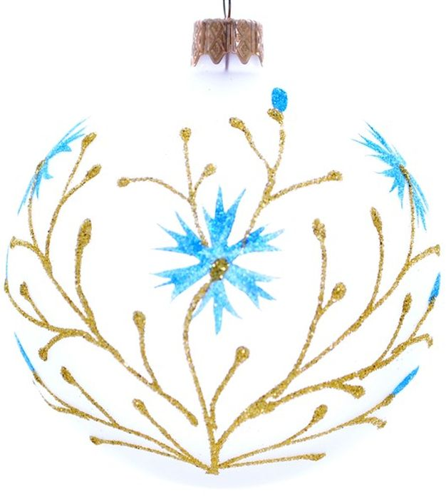Украшение новогоднее подвесное Волошка на белом, ручная работа, диаметр 8 смH-80-4647-N-Волошка на белом