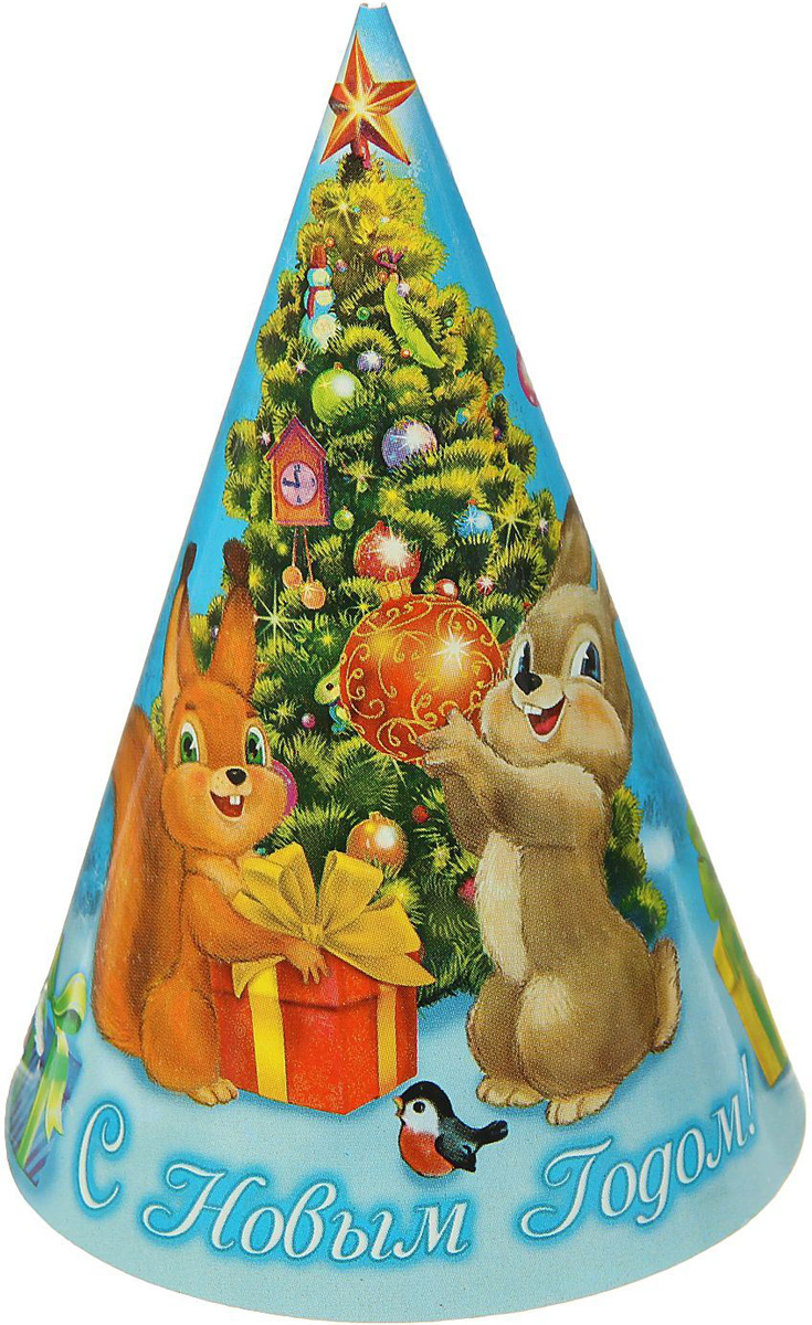 Колпак карнавальный Страна Карнавалия С новым годом. Елочка с подарками1481926Колпак - традиционный новогодний головной убор, который дополнит любой праздничный костюм. Будет это корпоративная вечеринка, утренник в школе или отдых в компании друзей - изделие поднимет настроение, где бы вы ни находились.Колпак, выполнен из картона и декорирован ярким новогодним принтом.
