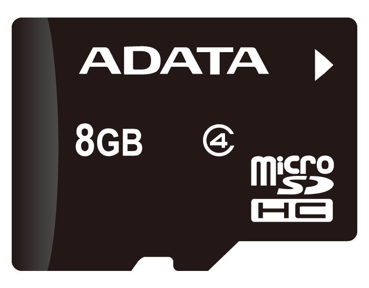 ADATA microSDHC Class4 8GB карта памяти с адаптером (AUSDH8GCL4-RA1)23346Карта ADATA microSDHC Class 4 обеспечивает сотовым телефонам еще больше памяти для мультимедийных, коммерческих и личных данных. Со скоростью передачи 4 МБ/с карта microSDHC представляет собой лучший выбор для микро-устройств хранения и обязательный аксессуар для вашей мобильной жизни. Карта ADATA microSDHC Class 4 создана в соответствии со стандартами SD Card Association SD 2.0, совместима со всеми цифровыми хост-устройствами с microSDHC и поддерживает хост-продукты SDHC с адаптером SDHC. Кроме этого, функция внутрисхемного программирования карты microSDHC позволяет пользователям загрузить новейшее ПО и повысить совместимость. Встроенный выключатель защиты от записи обеспечит еще большую безопасность ваших данных, предотвращая случайную перезапись и удаление файлов.