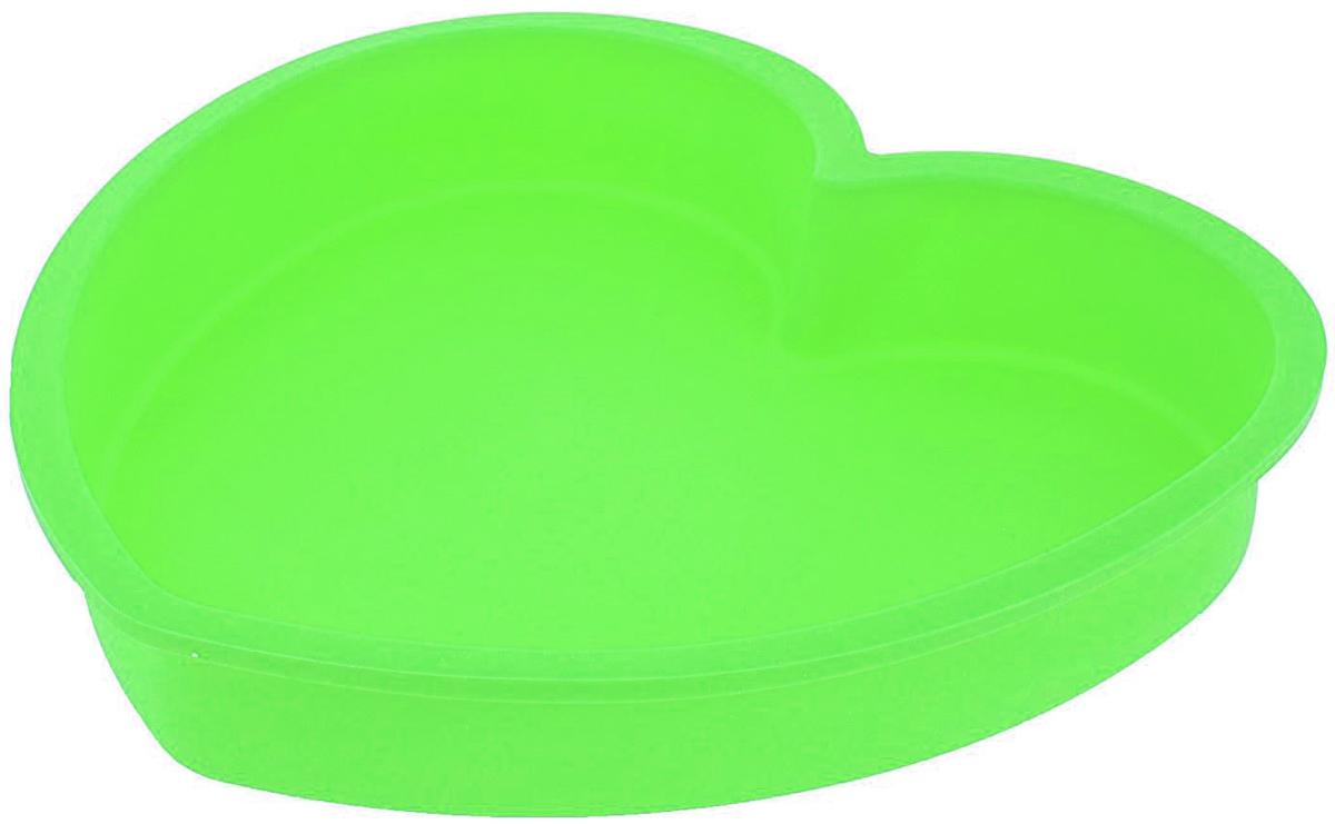Форма для выпечки Доляна Сердце, цвет: зеленый, 24 х 23 х 4 см1000343_зеленыйФорма для выпечки Доляна Сердце, цвет: зеленый, 24 х 23 х 4 см