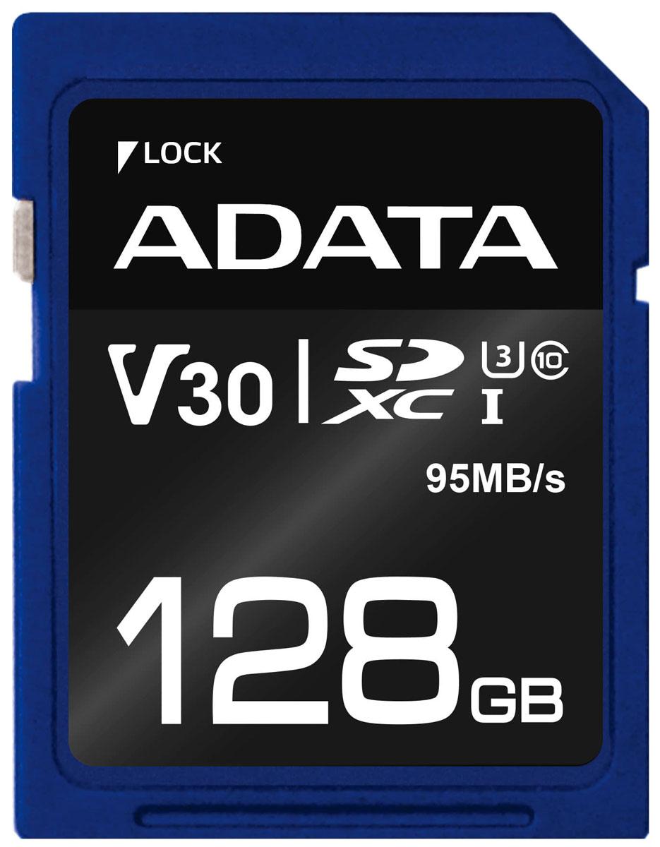ADATA microSDXC UHS-I U3 CLASS10 128GB карта памяти (ASDX128GUI3CL10-R)23341Карта памяти ADATA microSDXC UHS-I U3 обеспечивает повышенные характеристики скорости чтения/записи до 95/60 Мб/с, что позволяет снимать видео и изображения высокого разрешения. Она имеет класс V30 (класс скорости видео) и поддерживает запись видео формата Ultra HD 4K. Благодаря надежной защите от различных видов воздействия, карта памяти имеет длительный срок службы и является отличным решением для как для профессиональных фотографов, так и для любителей для съемки каждого фантастического момента с наибольшей точностью.Карта памяти оснащена встроенным переключателем блокировки записи и технологией автоматического кодирования исправления ошибок (ECC). Она проходит суровые испытания на водонепроницаемость, сопротивляемость удару, рентгеновским лучам, статическому напряжению и экстремальным температурам, что гарантирует их надежную работу. Карта оснащена высококачественной флэш-памятью MLC, которая обеспечивает ее надежность и длительный срок эксплуатации.