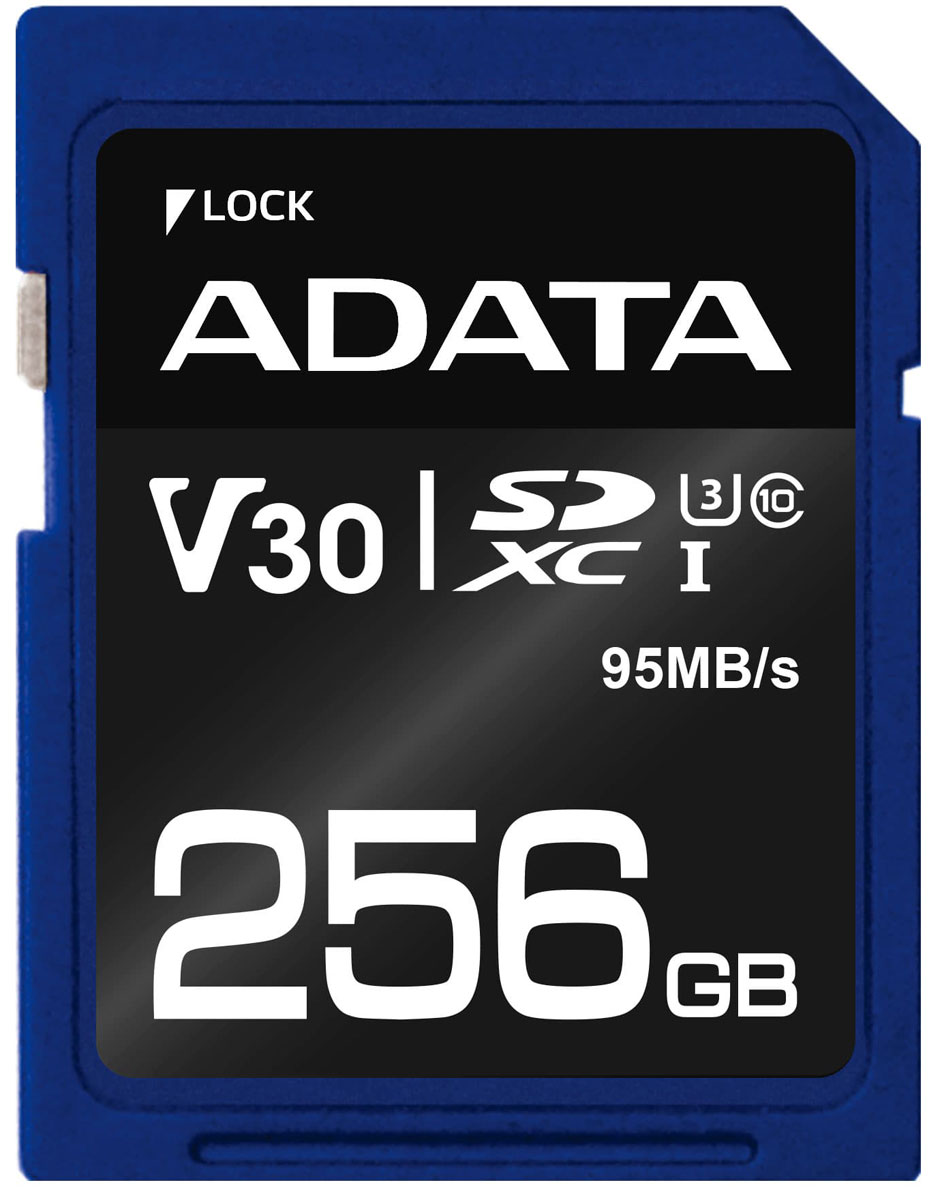 ADATA microSDXC UHS-I U3 CLASS10 256GB карта памяти (ASDX256GUI3CL10-R)23342Карта памяти ADATA microSDXC UHS-I U3 обеспечивает повышенные характеристики скорости чтения/записи до 95/60 Мб/с, что позволяет снимать видео и изображения высокого разрешения. Она имеет класс V30 (класс скорости видео) и поддерживает запись видео формата Ultra HD 4K. Благодаря надежной защите от различных видов воздействия, карта памяти имеет длительный срок службы и является отличным решением для как для профессиональных фотографов, так и для любителей для съемки каждого фантастического момента с наибольшей точностью.Карта памяти оснащена встроенным переключателем блокировки записи и технологией автоматического кодирования исправления ошибок (ECC). Она проходит суровые испытания на водонепроницаемость, сопротивляемость удару, рентгеновским лучам, статическому напряжению и экстремальным температурам, что гарантирует их надежную работу. Карта оснащена высококачественной флэш-памятью MLC, которая обеспечивает ее надежность и длительный срок эксплуатации.