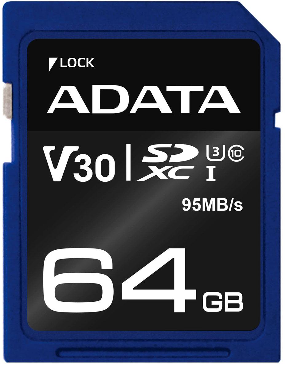 ADATA microSDXC UHS-I U3 CLASS10 64GB карта памяти (ASDX64GUI3CL10-R) - Карты памяти