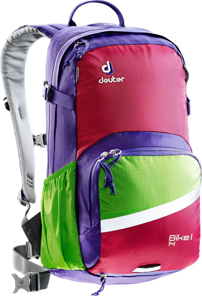 Рюкзак туристический Deuter Bike I, цвет: фиолетовый, 14 л3203117_3551• съемный держатель для шлема • прекрасная вентиляция, плотное прилегание к спине, благодаря системе Airstripes с регулируемыми стойками каркаса (Bike I 18 SL & 20) • максимальная вентиляция благодаря сетчатой FlexLite спинке AIRCOMFORT (Bike I Air EXP 16) • хорошо вентилируемые, легкие, сетчатые набедренные крылья пояса (Bike I 18 SL, Air EXP 16 & 20) • поясной ремень (Bike I 14) • чехол от дождя на молнии • удобные плечевые лямки с мягкими краями Soft-Edge • съемный, складывающийся дождевик • компрессионные ремни • большой карман на молнии с органайзером и карабинчиком для ключей и отделениями для мобильного телефона, бумажника, инструментов и т.д. • легкодоступное отделение на молнии для смартфона или карты на задней стороне • эластичные боковые карманы • большие 3M отражающие полосы на переднем кармане • светоотражающая петля для габаритного фонарика • отделение для влажной одежды • совместимость с питьевой системой Вес: 750 г Объем: 14 л Размеры: 46 x 23 x 17 см Материал: Duratex Bright / Ripstop-Polytex