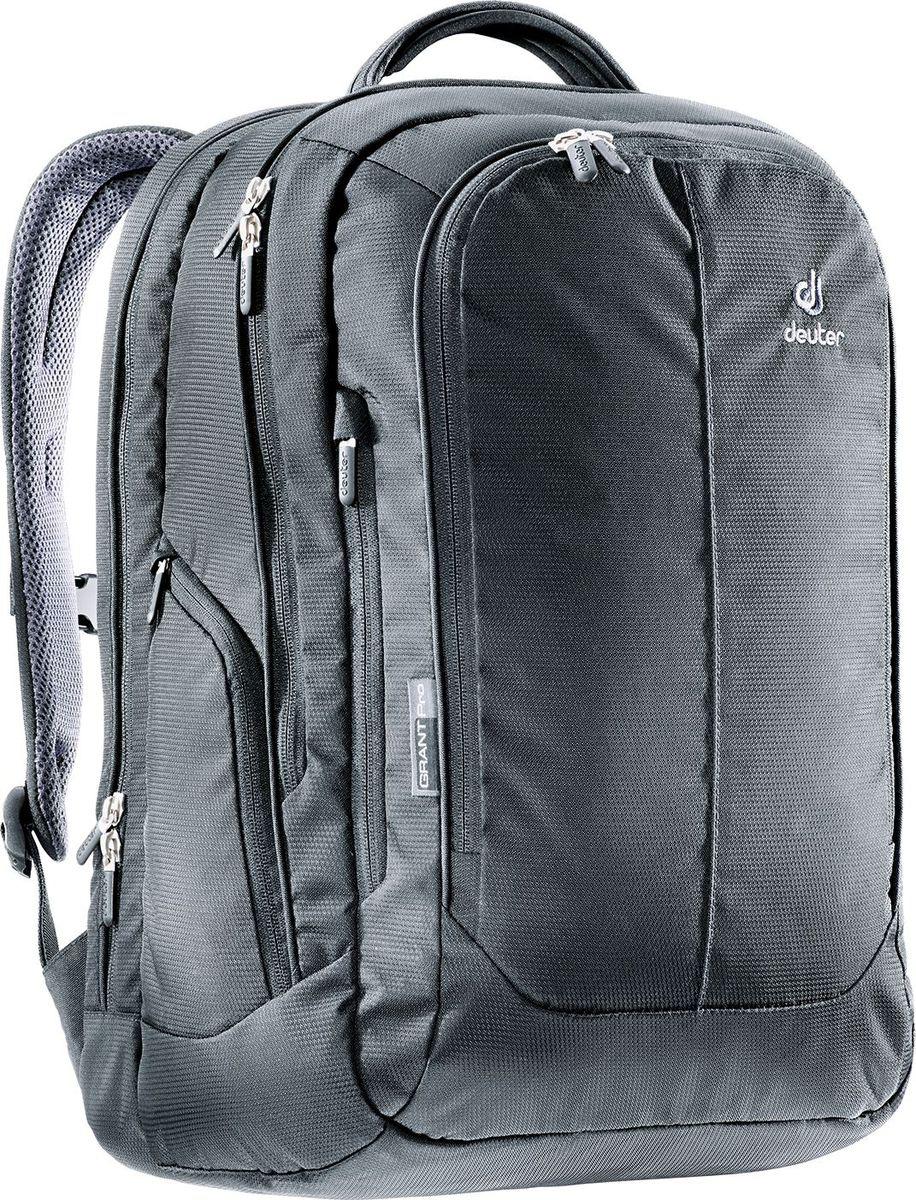 Рюкзак туристический Deuter Grant, цвет: черный, 24 л80604_7000Вот он: идеальный деловой рюкзак от Deuter. Весь наш высокогорный опыт перенесен в мир офиса: в конечном счете, в жаркий день вы благодарны за отличную вентиляцию вашей спины независимо от того, где вы находитесь. Наружный материал этого рюкзака для ноутбука очень прочный, но при этом имеет спортивный и изысканный вид. Внутри Deuter сосредоточила внимание на продуманной, защищенной организации отделений для хранения ноутбука, планшетника и различных компьютерных аксессуаров. Ничего не будет потеряно и ничего не будет повреждено. Особенности: система вентиляции спины Aircontact большое основное отделение, в которое помещаются папки для бумаг, с мягким отделением для ноутбука 15,6? и планшетника большой передний карман с органайзером для кабеля, камеры, флэшки и т.п. большое отделение на молнии для документов съемный карабинчик для ключей удобная ручка для переноски нагрудный ремень боковое отделение на молнии для документов эластичные боковые карманы Вес: 960 г Объем: 24 л Размер: 47/31/22 (В х Ш х Г) см