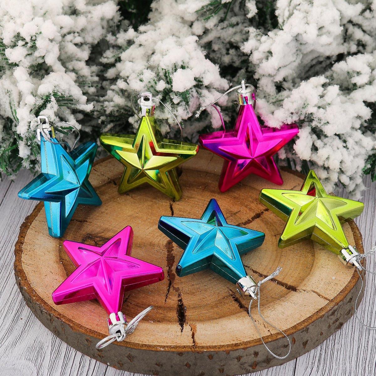Набор новогодних подвесных украшений Звезды, 6 х 6 см, 6 шт. 21230822123082Набор новогодних подвесных украшений отлично подойдет для декорации вашего дома и новогодней ели. С помощью специальной петельки украшение можно повесить в любом понравившемся вам месте. Но, конечно, удачнее всего оно будет смотреться на праздничной елке.Елочная игрушка - символ Нового года. Она несет в себе волшебство и красоту праздника. Такое украшение создаст в вашем доме атмосферу праздника, веселья и радости.