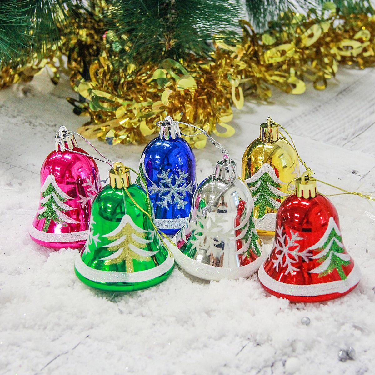 Набор новогодних подвесных украшений Колокольчик, елочка, 5 х 5,5 см, 6 шт2178123Набор новогодних подвесных украшений отлично подойдет для декорации вашего дома и новогодней ели. С помощью специальной петельки украшение можно повесить в любом понравившемся вам месте. Но, конечно, удачнее всего оно будет смотреться на праздничной елке.Елочная игрушка - символ Нового года. Она несет в себе волшебство и красоту праздника. Такое украшение создаст в вашем доме атмосферу праздника, веселья и радости.