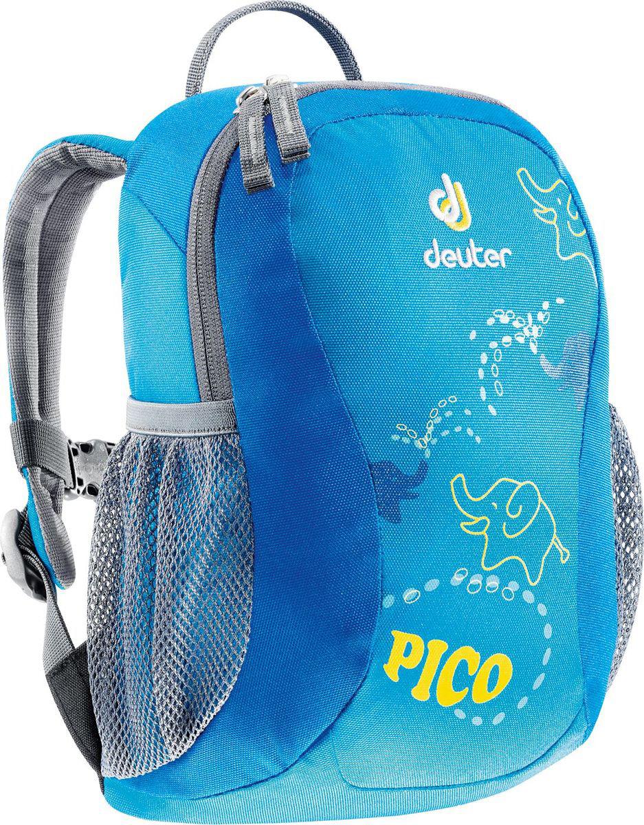 Рюкзак туристический Deuter Pico, цвет: синий, 5 л36043_3006Прекрасный рюкзак серии Pico -это веселый помощник для малышей в детском саду, на прогулках или в походе к озеру. Он веселый и забавный, предназначен для детей в возрасте от трёх лет и старше. Рюкзак выполнен из высокотехнологичной и экологически безопасной ткани, отвечающей мировым стандартам маркировки Bluesign. Особенности: - вместительное основное отделение - стильные, современные светоотражающие элементы спереди и по бокам - два удобных наружных кармана с застежками Velcro - надежная внешняя петля для фиксации - эластичный грудной ремень - именная бирка внутри - материал Deuter-Super-Polytex - вес 200 грамм - объем 5 литров - размер 28х19х12 см.