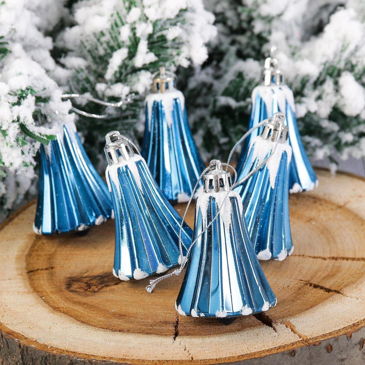 Набор новогодних подвесных украшений Колокольчик. Снег, цвет: синий, 5 х 4 см, 6 шт2123096Набор новогодних подвесных украшений отлично подойдет для декорации вашего дома и новогодней ели. С помощью специальной петельки украшение можно повесить в любом понравившемся вам месте. Но, конечно, удачнее всего оно будет смотреться на праздничной елке.Елочная игрушка - символ Нового года. Она несет в себе волшебство и красоту праздника. Такое украшение создаст в вашем доме атмосферу праздника, веселья и радости.