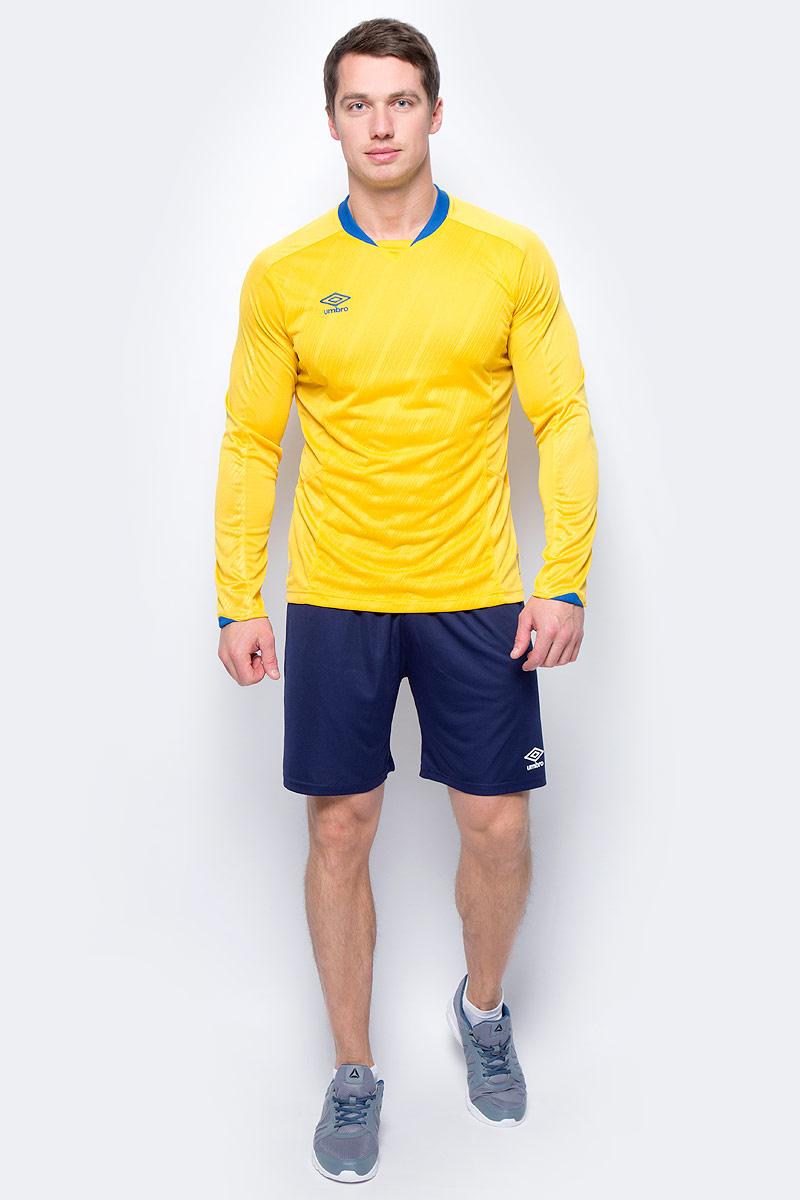 Футболка мужская Umbro Armada Jersey Ls, цвет: желтый, синий. 110115. Размер M (48)110115Технологичная игровая футболка футбольная для взрослых с длинным рукавом. Подходит для игр и частых и активных футбольных тренировок в прохладную погоду. Прилегающий силуэт для большего комфорта и удобства в игре. Выполнена из воздухопроницаемого трикотажа с перфорированным рисунко на передней части. Вставки из сетки под рукавом и на боковой части для отвода влаги. Технология Tech Inside.