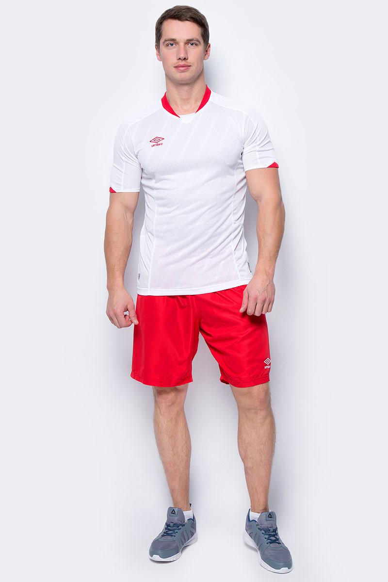 Футболка мужская Umbro Armada Jersey Ss, цвет: белый, красный. 120115. Размер M (48)120115Футболка, выполненная из 100% полиэстера, отлично подойдет для игр и частых и активных футбольных тренировок. Модель с круглым вырезом горловины и короткими рукавами дополнена по бокам вставками из сетки для отвода влаги.