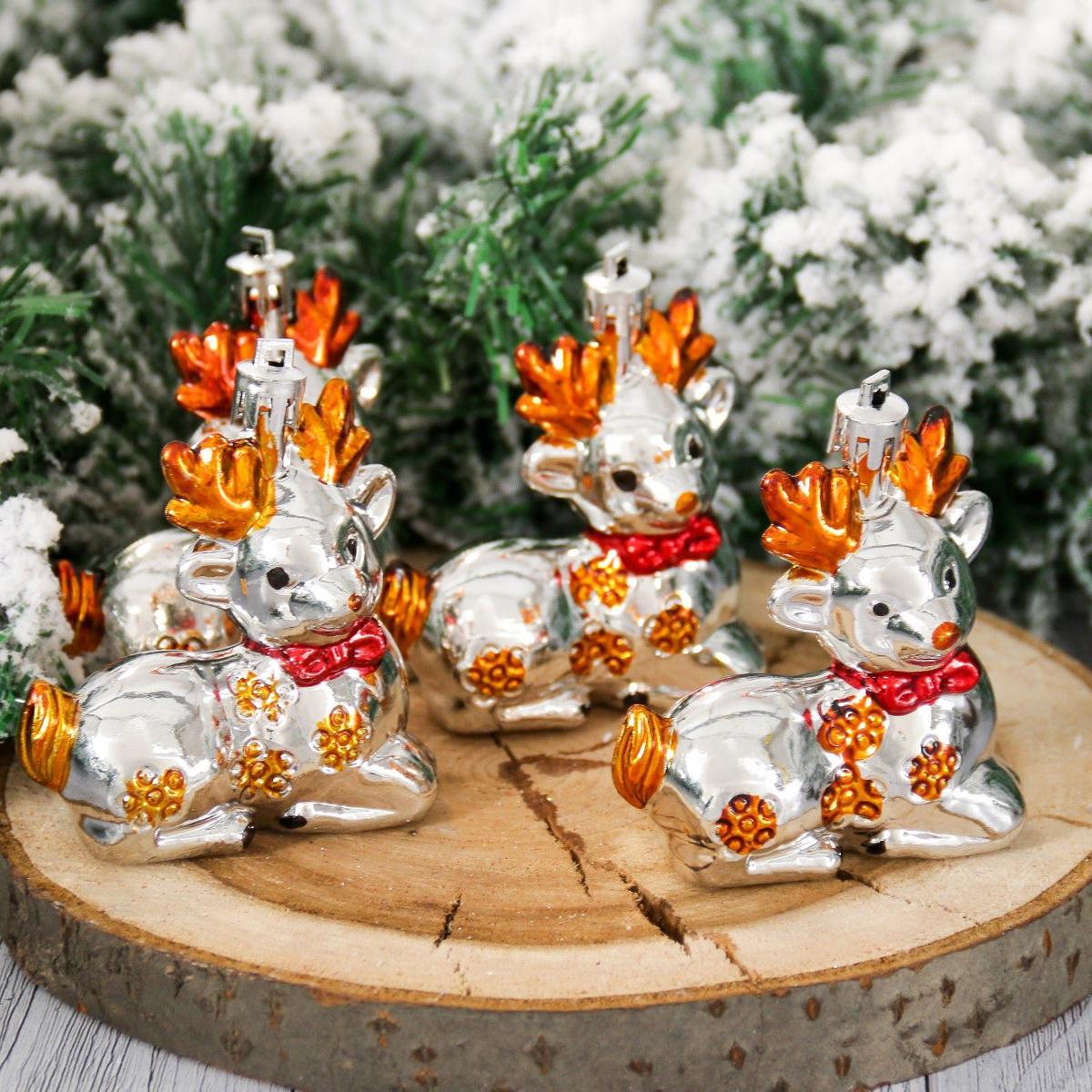 Набор новогодних подвесных украшений Олешки, высота 8,5 см, 4 шт2155340Набор новогодних подвесных украшений отлично подойдет для декорации вашего дома и новогодней ели. С помощью специальной петельки украшение можно повесить в любом понравившемся вам месте. Но, конечно, удачнее всего оно будет смотреться на праздничной елке.Елочная игрушка - символ Нового года. Она несет в себе волшебство и красоту праздника. Такое украшение создаст в вашем доме атмосферу праздника, веселья и радости.