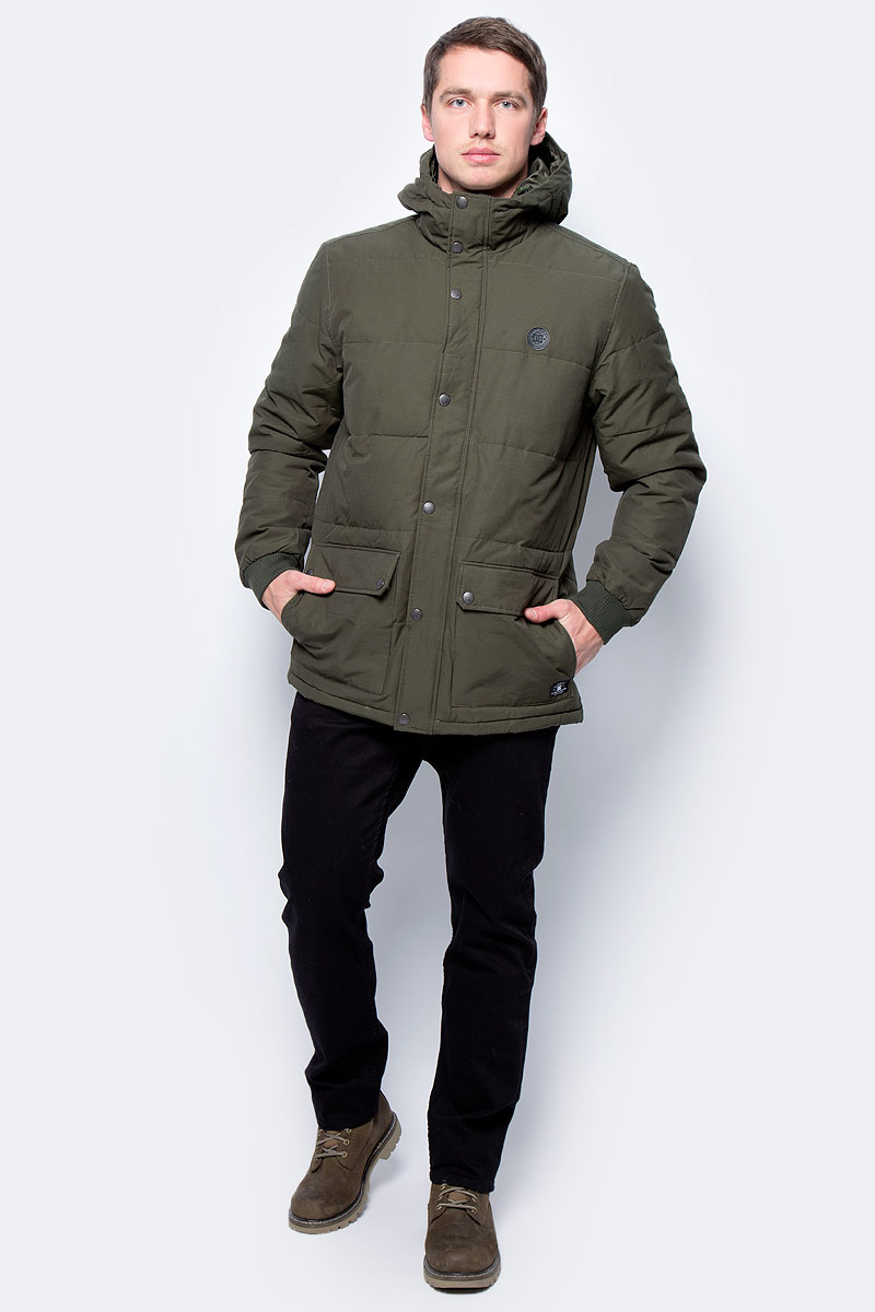 Куртка мужская DC Shoes, цвет: темно-зеленый. EDYJK03124-CSN0. Размер M (48)EDYJK03124-CSN0Куртка мужская DC Shoes выполнена из хлопка и нейлона. Модель с длинными рукавами и капюшоном застегивается на застежку молнию и кнопки.