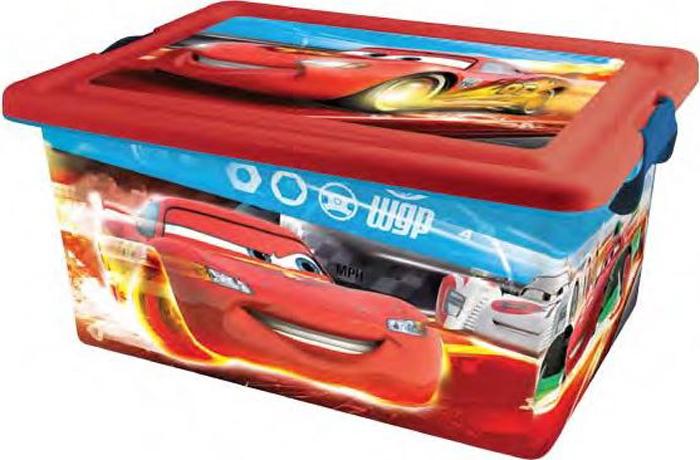 """Детский ящик Disney Cars (Тачки), выполненный из высококачественного  безопасного пластика, предназначен для хранения различных предметов.  Изделие декорировано аппликациями из мультфильма Disney Cars (Тачки).  Высокое качество изображений, насыщенность красок достигается благодаря  высоким технологиям нанесения изображения любимых персонажей на  материал (никаких наклеек!). Вместительный ящик закрывается при помощи  крышки с крепкими защелками с обеих сторон, которые не допускают  случайного открывания. В крышке имеется ручка, благодаря которой ящик  можно без проблем переносить с места на место. Ручка """"прячется"""" в крышке,  что дает возможность размещать сверху другие ящики."""