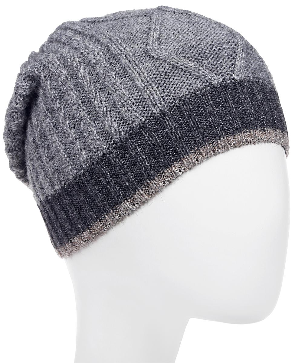 Шапка мужская Marhatter, цвет: серый, темно-серый. Размер 57/59. MMH6879/2MMH6879/2Отличная вязаная шапка в стиле сasual. Модель прекрасно подойдет активным молодым людям, ценящим комфорт и удобство. Идеальный вариант на каждый день.