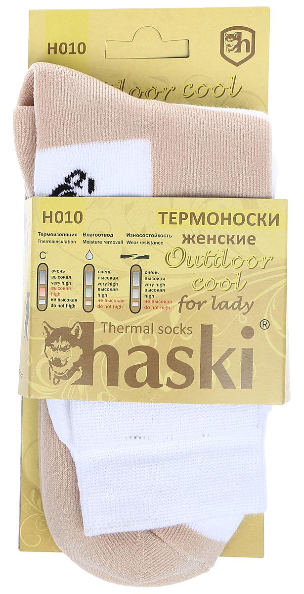 Термоноски женские Haski, цвет: бежевый, белый, черный. H010. Размер 38/41H010Модель для ежедневного использования в холодную погоду.термоизоляция - очень высокаявлагоотвеление - не высокоеизносостойкость - не высокая