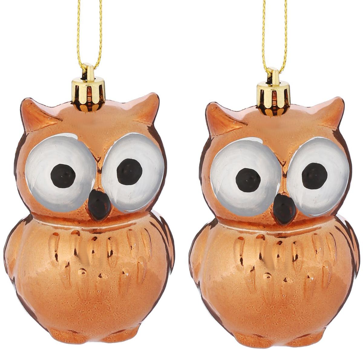 Набор новогодних подвесных украшений Совушки глазки, 7,5 х 4,5 см, 2 шт2122496Набор новогодних подвесных украшений отлично подойдет для декорации вашего дома и новогодней ели. С помощью специальной петельки украшение можно повесить в любом понравившемся вам месте. Но, конечно, удачнее всего оно будет смотреться на праздничной елке.Елочная игрушка - символ Нового года. Она несет в себе волшебство и красоту праздника. Такое украшение создаст в вашем доме атмосферу праздника, веселья и радости.