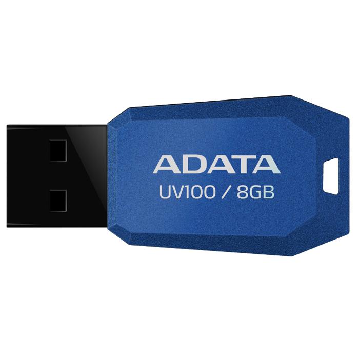 ADATA UV100 8GB, Blue USB флеш-накопитель23146Тонкий флеш-накопитель ADATA UV100 расширяет предлагаемый широкий ассортимент портативных устройств хранения данных.Накопитель имеет бесколпачковую конструкцию, исключающую риск потери колпачка. Отверстие в корпусе позволяет легко носить накопитель на шнурке или брелоке для ключей. Для тех, кто разбирается в моде, накопитель выгодно отличается внешним видом, напоминающим огранку бриллианта, что позволяет владельцам подчеркнуть свой уникальный личный стиль.Обладая длиной всего 41 мм и толщиной лишь 5,8 мм, этот накопитель является в высшей степени компактным и экономичным решением для тех, кто считает переносимость данных насущной необходимостью.
