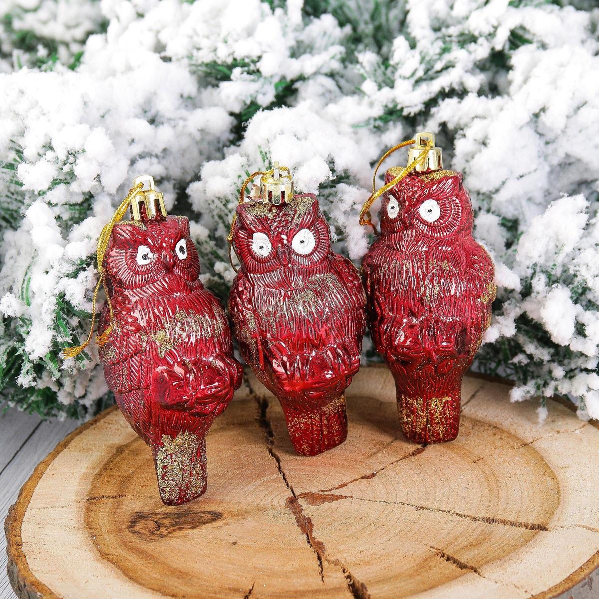 Набор новогодних подвесных украшений Строгая сова, 9 х 4,5 х 4 см, 3 шт2123059Набор новогодних подвесных украшений отлично подойдет для декорации вашего дома и новогодней ели. С помощью специальной петельки украшение можно повесить в любом понравившемся вам месте. Но, конечно, удачнее всего оно будет смотреться на праздничной елке.Елочная игрушка - символ Нового года. Она несет в себе волшебство и красоту праздника. Такое украшение создаст в вашем доме атмосферу праздника, веселья и радости.