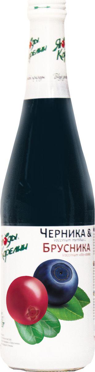 Ягоды Карелии нектар чернично-брусничный с мякотью, 0,51 л ягоды карелии морошка протертая с сахаром 280 г