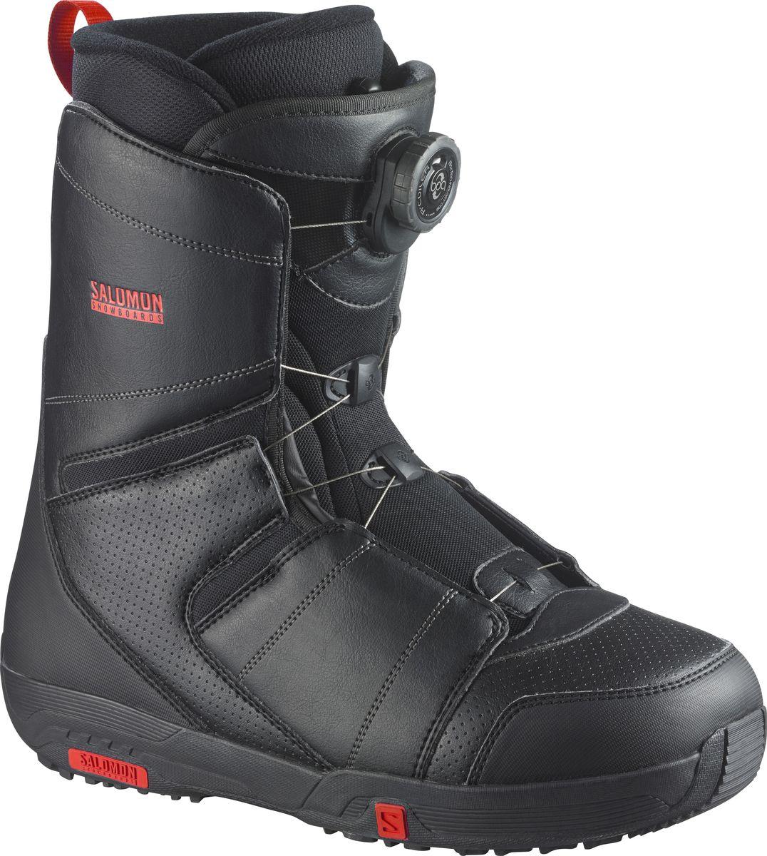 Ботинки для сноуборда Salomon Faction Boa, цвет: черный, красный. Размер 26,5 (40,5)L36898300Ботинки для сноуборда Salomon Faction Boa – ботинки средней жесткости с базовым набором технологических характеристик, необходимых для комфортного катания и уверенного прогресса. Шнуровка BOA не отнимет много времени и позволит подогнать ботинок по ноге, не снимая перчаток. Внутренник Silver Fit идеально подгоняется под анатомические особенности ног райдера при температуре тела и надолго сохраняет оптимальную форму, а средняя жесткость позволяет использовать ботинки максимально универсально, пробуя разные стили катания.Как выбрать сноуборд. Статья OZON Гид