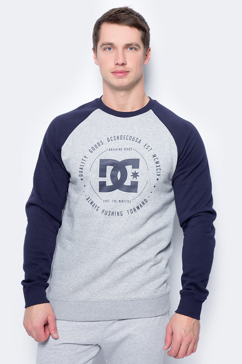 Свитшот мужской DC Shoes Rebuilt Raglan, цвет: темно-синий, серый. EDYSF03122-KNFH. Размер L (50) dc shoes кеды dc shoes evan smith hi navy gold 9