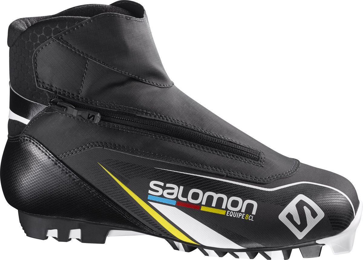 Ботинки для беговых лыж Salomon Equipe 8 Classic, цвет: черный. Размер 11,5 (45)L39131500В ботинках Salomon Equipe 8 Classic создается впечатление, что они были созданы специально под морфологию вашей стопы. Гоночные классические ботинки с термоформовкой Custom Fit для четкости обхвата и комфорта и материал Thinsulate для тепла на весь день.