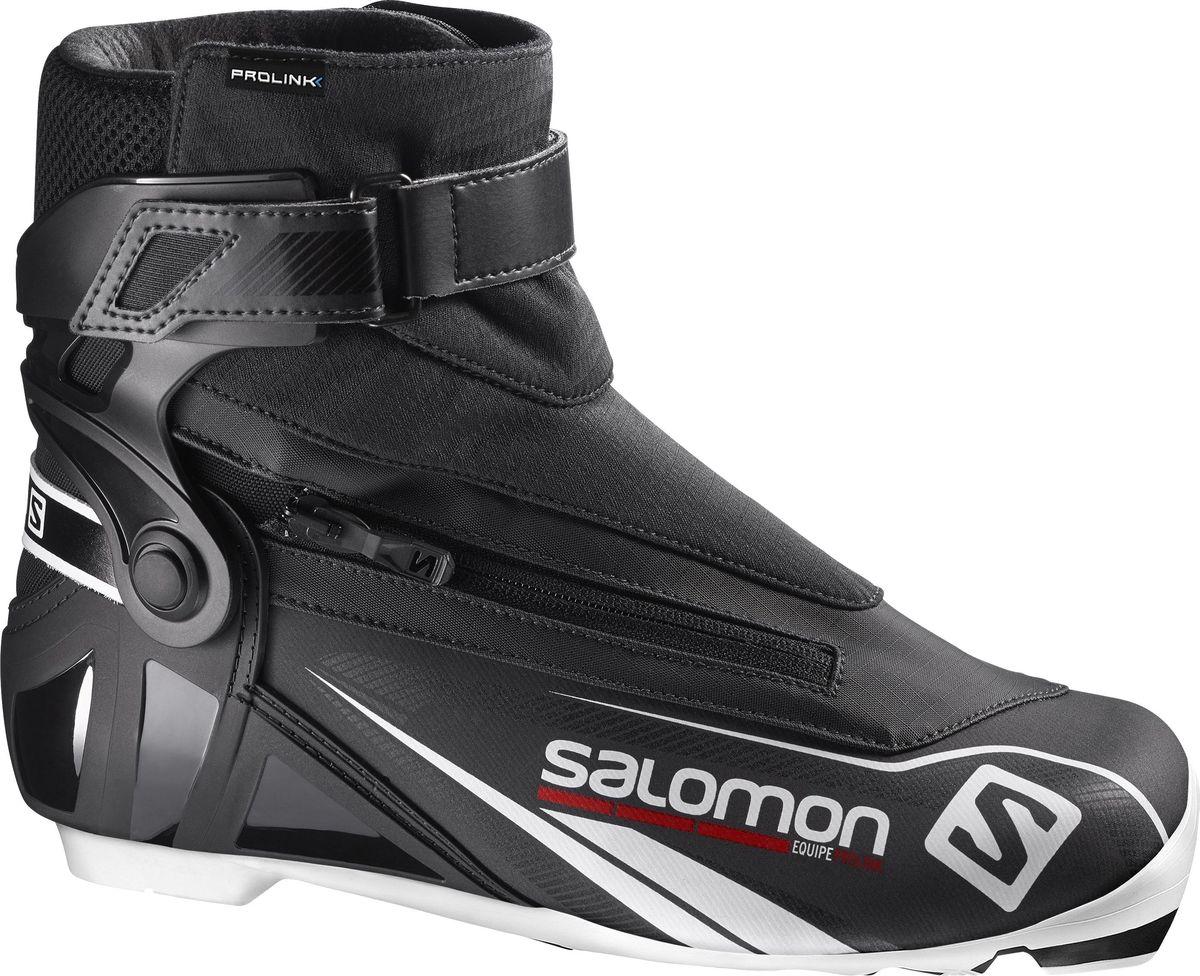 Ботинки для беговых лыж Salomon Equipe Prolink, цвет: черный. Размер 8,5 (41)L39132300Для лыжников желающих иметь высокотехнологичные комфортные универсальные ботинки. У ботинок Equipe вы найдете поддерживающую манжету и гибкую переднюю часть для конька или классики. Термоформовка Custom fit и материал Thinsulate гарантируют комфорт весь день.