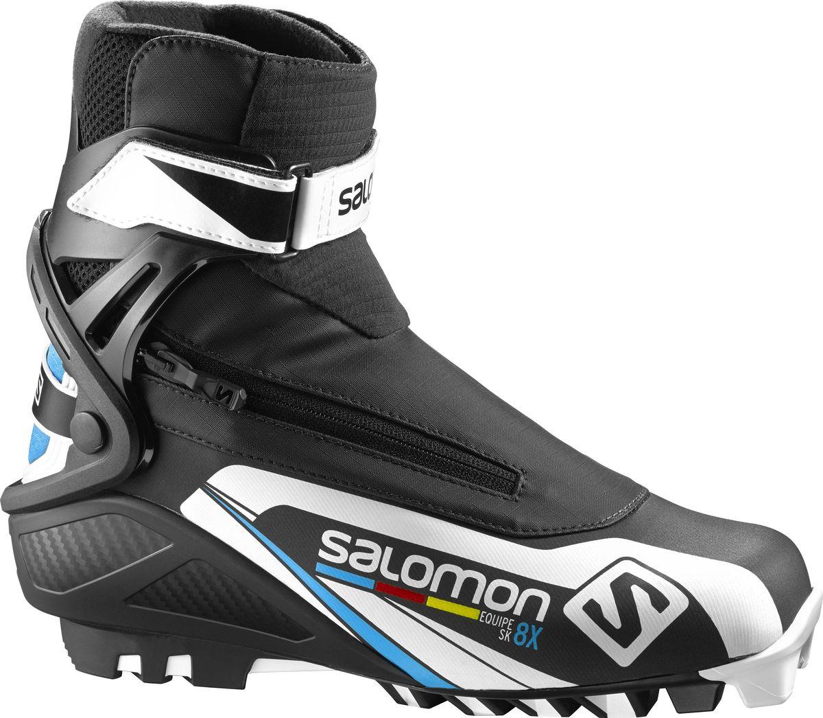 Ботинки для беговых лыж Salomon Equipe 8X Skate, цвет: черный. Размер 9,5 (42,5)L39187800В ботинках Salomon Equipe 8X Skate совмещены системы термоформовки Custom fit с инновационной раздельной системой быстрого шнурования для великолепного комфорта. Манжета Energyzer cuff обеспечит мощную и прогрессивную боковую поддержку. Ботинки созданы для любителей лыжного спорта, ценящих рабочие характеристики и желающих приобрести ботинки по доступной цене.