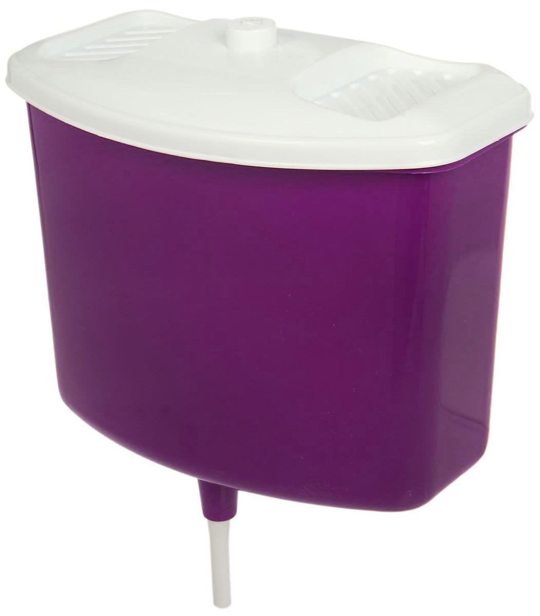 Рукомойник, с крышкой, цвет: фиолетовый, белый, 5 л2175777_фиолетовый, белыйОригинальный рукомойник поможет вам поддерживать чистоту рук на вашем дачном участке. Рукомойник изготовлен прочного пластика. Крышка плотно прилегает к рукомойнику, что препятствует попаданию грязи и пыли в воду.На крышке рукомойника предусмотрены места под мыло.
