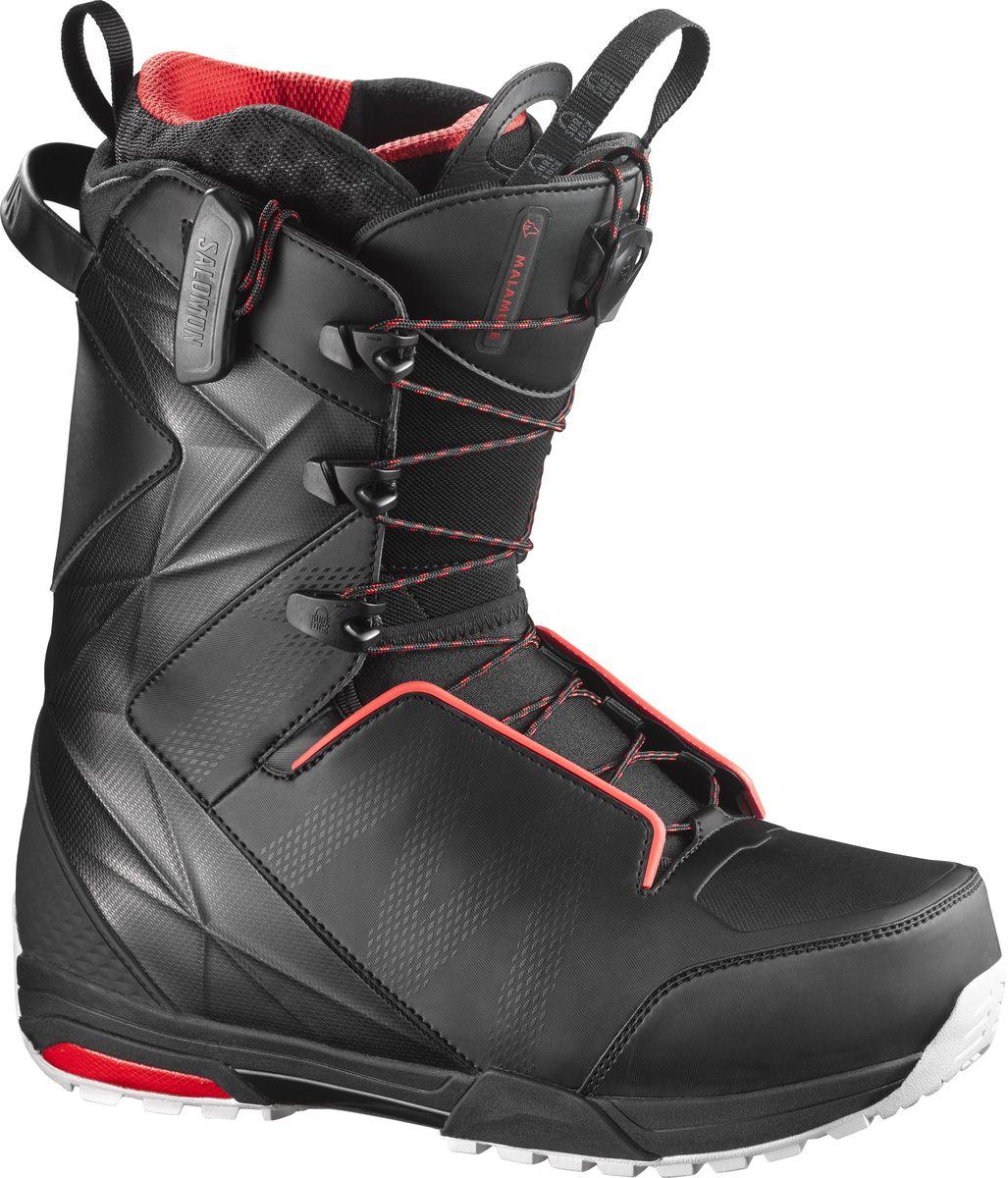 Ботинки для сноуборда Salomon Malamute, цвет: черный. Размер 29 (44)L39359500Самые гибкие ботинки для сноубординга Malamute с непревзойденной поддержкой поставляются в комплекте с новой стелькой двойной плотности Ortholite C3, которую отличают пена с эффектом памяти и пяточная чашка из сополимера EVA, и внутренним ботинком Platinum 4D для максимально комфортного катания. Встроенный ремешок задника Integrated Heel-Strap, вставка Power Frame и Energizer Bars обеспечивают индивидуальную и четкую посадку по ноге. В модели используются подошва Hike, гарантирующая отличное сцепление, и знаменитая шнуровка PowerLock, которая отлично фиксирует ногу.