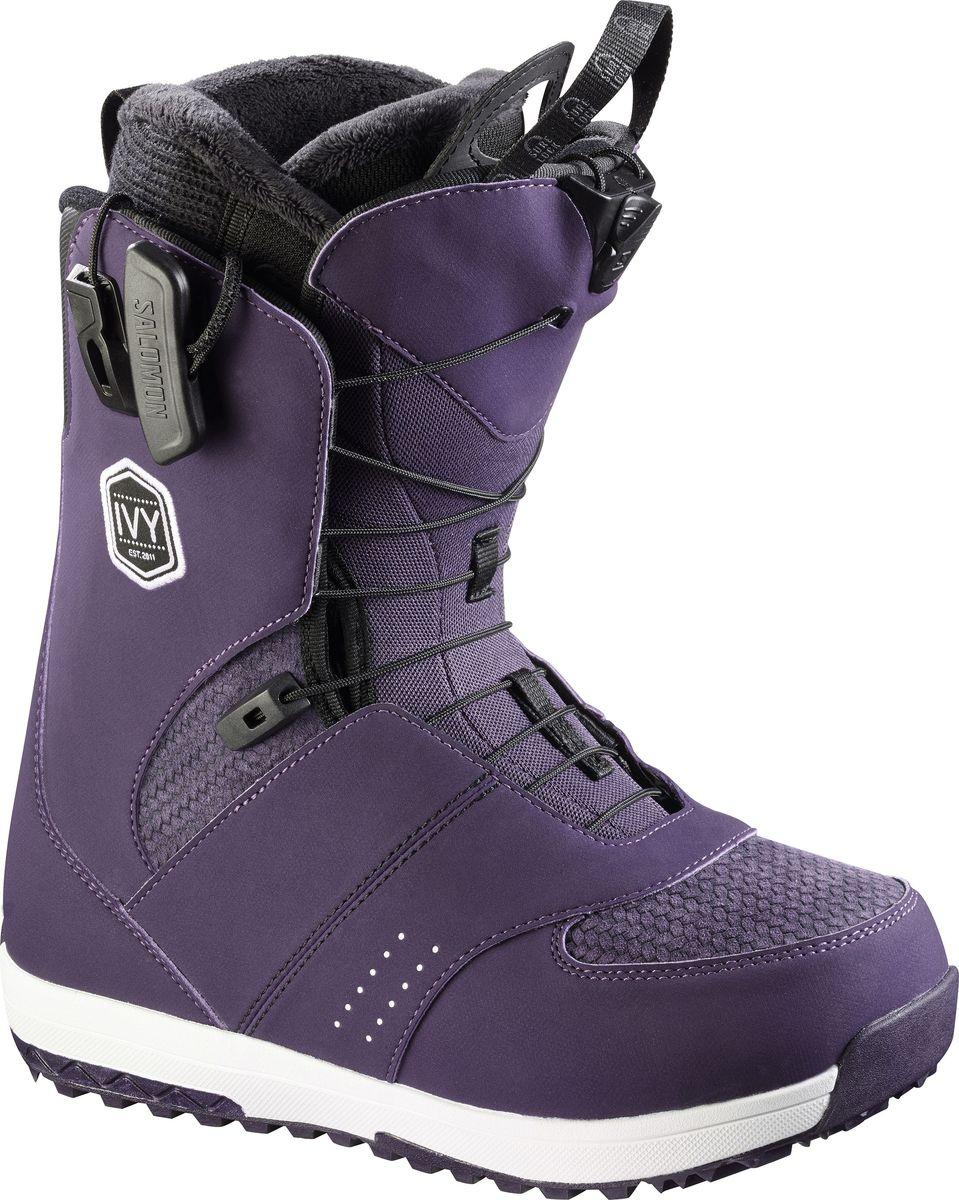 """Ваши ноги заслуживают того, чтобы быть счастливыми, а ботинки для сноуборда Salomon """"IVY Nightshade"""" помогут добиться этого! Новая стелька Ortholite C2 с эффектом памяти гарантирует непревзойденный комфорт, а система шнуровки ZoneLock + STR8JkT обеспечивают исключительную поддержку пятки. Эти ботинки разработаны, чтобы дарить ногам ощущение мягкого уюта с первого до последнего спуска.    Как выбрать сноуборд. Статья OZON Гид"""