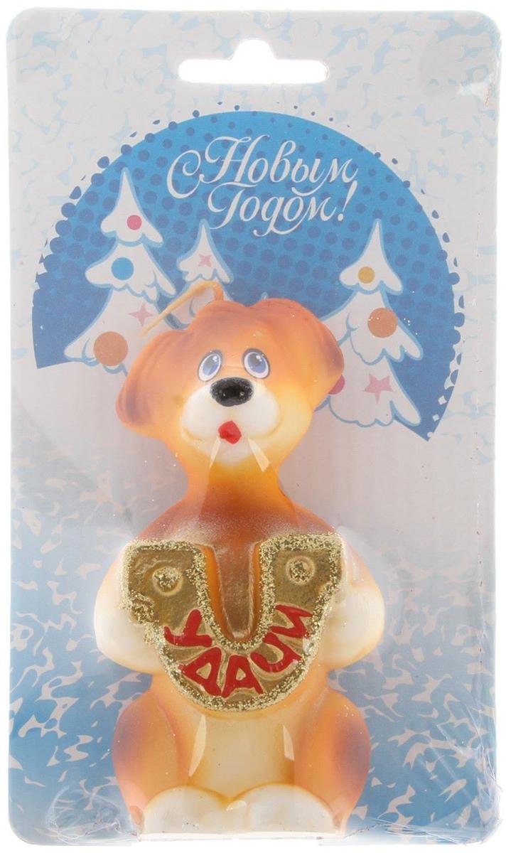 Свеча декоративная Омский свечной завод Собака с подковой, цвет: синий, высота 7 см счетчики тепла в квартиру