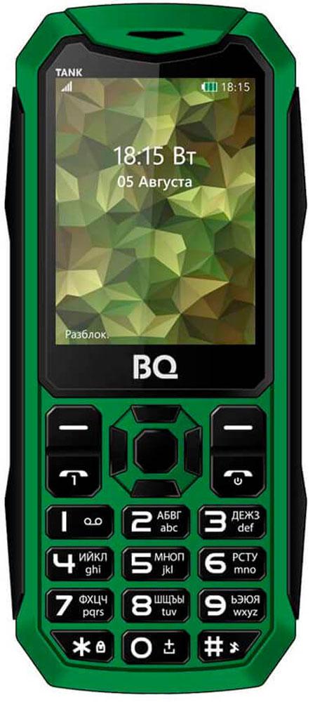 BQ 2428 Tank, Green85953768Мобильный телефон BQ 2428 Tank это не только привычная звонилка, но и устройство, которое станет помощником в повседневной жизни. Если появилась необходимость срочно сфотографировать документы, используйте встроенную камеру . Слушайте любимые радиостанции с помощью встроенного FM-радио приемника. В телефоне присутствует модуль Bluetooth для оперативной передачи файлов. Диагональ дисплея 2,4 дюйма позволяет с комфортом просматривать необходимый мультимедийный контент.