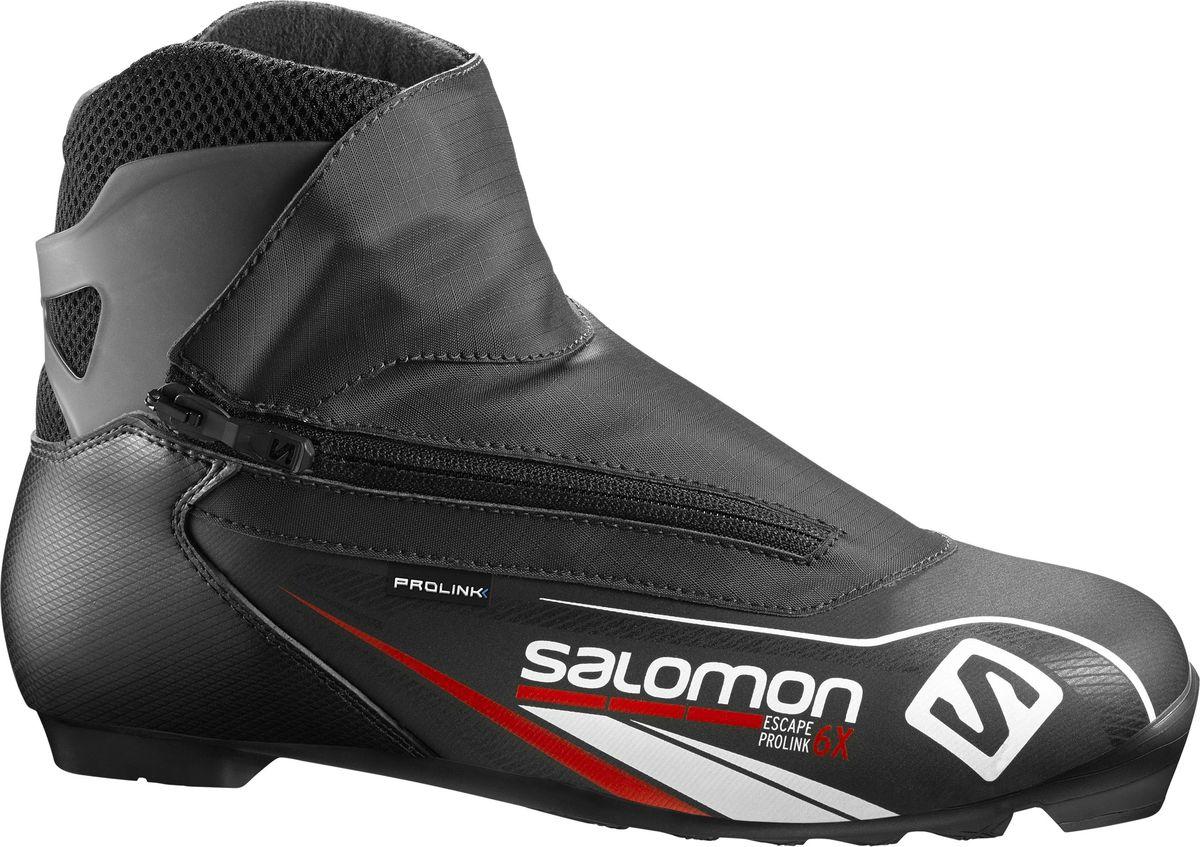 Ботинки для беговых лыж Salomon Escape 6X Prolink, цвет: черный. Размер 10,5 (44)L39417400Escape 6 Prolink это хорошо сидящие на стопе, комфортные туристические ботинки. Поддерживающая манжета в районе голеностопа, тепло материала Thinsulate и знаменитое удобство Salomon.