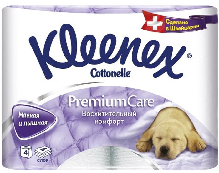 Туалетная бумага Kleenex Premium Comfort, четырехслойная, цвет: белый, 4 рулона26083075Туалетная бумага Kleenex Premium Comfort соответствует всем ожиданиям потребителей! Уникальность бумаги в том, что она пышная. Это стало возможно благодаря воздушному тиснению, по структуре похожему на пуховое одеяло. 100% целлюлоза придает бумаге премиальный, кристально белый цвет.