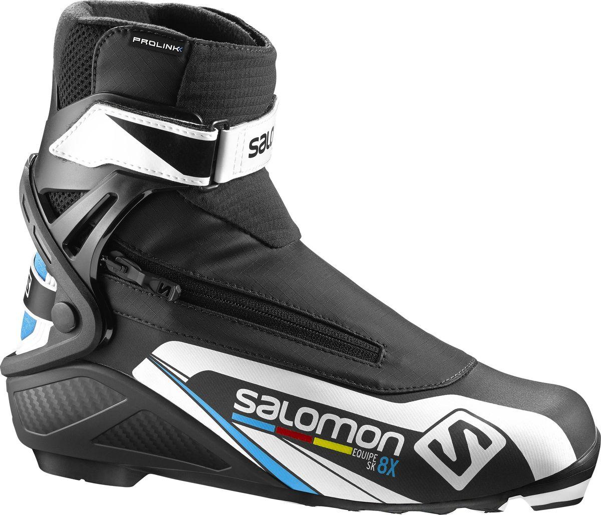 Ботинки для беговых лыж Salomon Equipe 8X Skate Prolink, цвет: черный. Размер 10 (43)L39417500В ботинках Salomon Equipe 8X Skate Prolink совмещены системы термоформовки Custom fit с инновационной раздельной системой быстрого шнурования для великолепного комфорта. Манжета Energyzer cuff обеспечит мощную и прогрессивную боковую поддержку. Ботинки созданы для любителей лыжного спорта, ценящих рабочие характеристики и желающих приобрести ботинки по доступной цене.