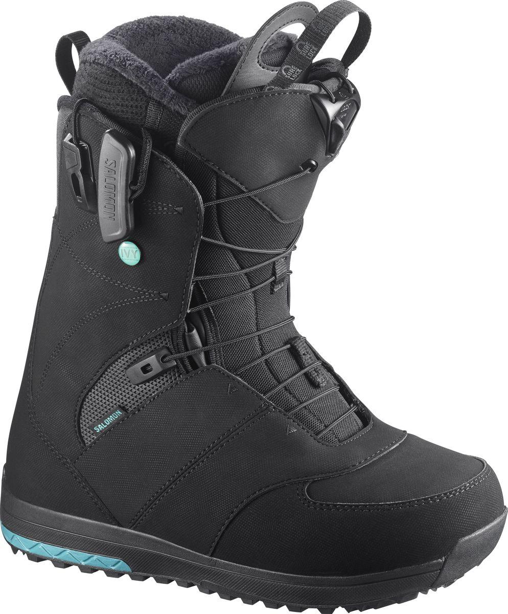 Ботинки для сноуборда Salomon IVY, цвет: черный. Размер 23,5 (35,5)L39449100Ваши ноги заслуживают того, чтобы быть счастливыми, а ботинки для сноуборда Salomon IVY помогут добиться этого! Новая стелька Ortholite C2 с эффектом памяти гарантирует непревзойденный комфорт, а система шнуровки ZoneLock + STR8JkT обеспечивают исключительную поддержку пятки. Эти ботинки разработаны, чтобы дарить ногам ощущение мягкого уюта с первого до последнего спуска.