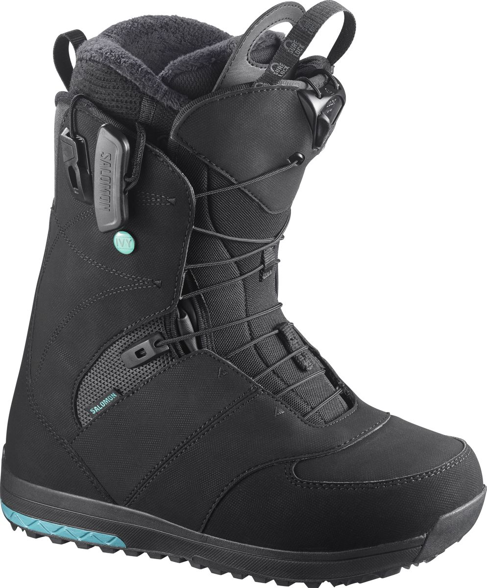 Ботинки для сноуборда Salomon IVY, цвет: черный. Размер 25,5 (39)L39449100Ваши ноги заслуживают того, чтобы быть счастливыми, а ботинки для сноуборда Salomon IVY помогут добиться этого! Новая стелька Ortholite C2 с эффектом памяти гарантирует непревзойденный комфорт, а система шнуровки ZoneLock + STR8JkT обеспечивают исключительную поддержку пятки. Эти ботинки разработаны, чтобы дарить ногам ощущение мягкого уюта с первого до последнего спуска.Как выбрать сноуборд. Статья OZON Гид