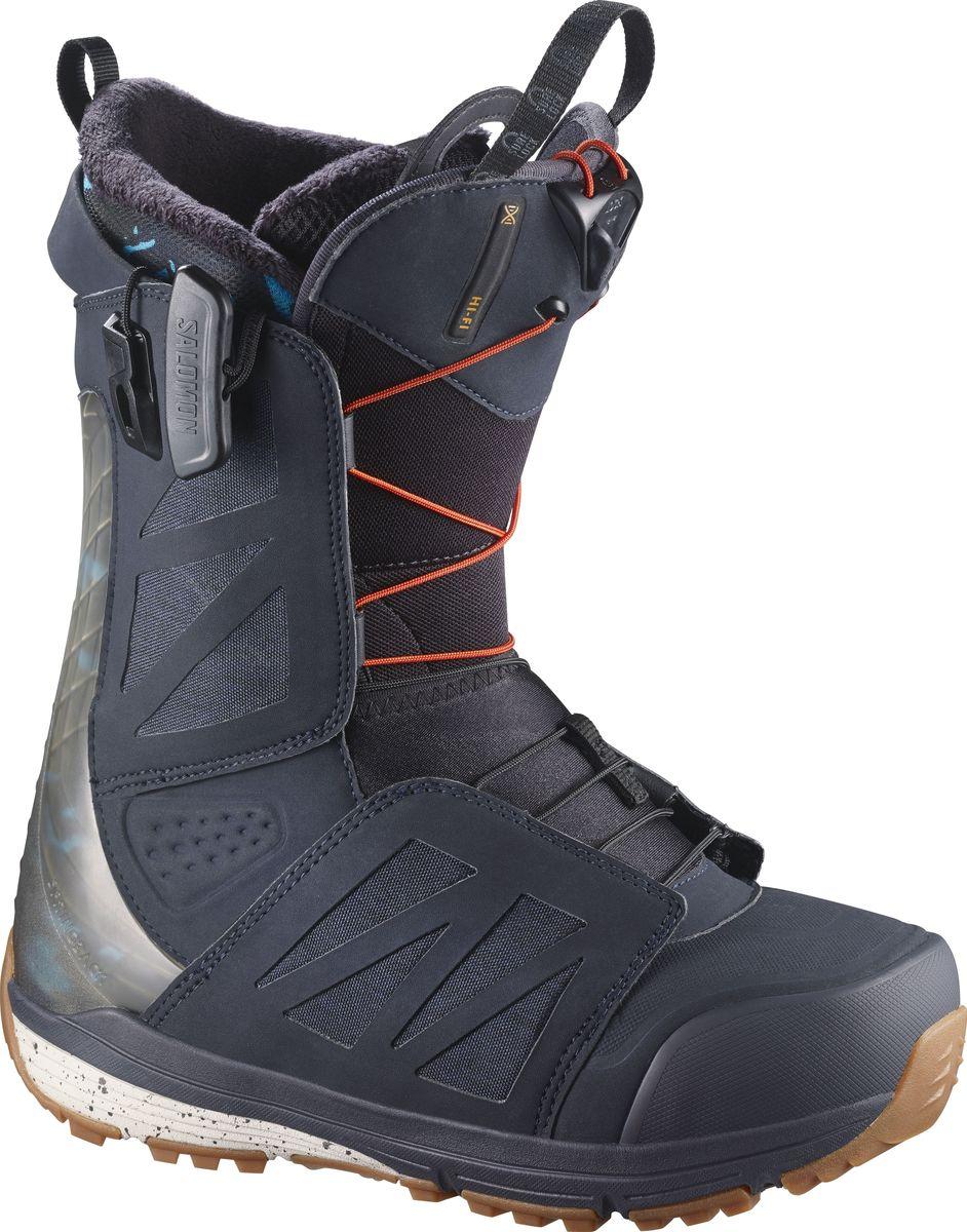 Ботинки для сноуборда Salomon Hi-Fi Wide, цвет: синий, хаки. Размер 30,5 (46,5)L39485600В ботинках для сноуборда Salomon Hi-Fi Wide сочетание оптимальной жесткости с непревзойденным комфортом достигается благодаря использованию всех передовых технологий Salomon, которые считаются признанным лидером в производстве сноубордической (и не только) обуви. Конструкция Full Custom Fit способствует мягкой и плотной посадке ноги, эргономичная стелька Ortholite C3 сохраняет тепло и обеспечивает отличную амортизацию, а шнуровка Zone Lock позволяет зашнуровать ботинок за считаные секунды. Вы наверняка его видели. Боде Меррилл - один из самых значимых и заметных сноубордистов последних лет, успевший побывать на обложках большинства профильных изданий и засветиться во всех самых интересных видео-проектах. И Вам наверняка будет интересно узнать, что во время всех его безумных трюков, на ногах у Боде ботинки Salomon Hi-Fi. Как выбрать сноуборд. Статья OZON Гид