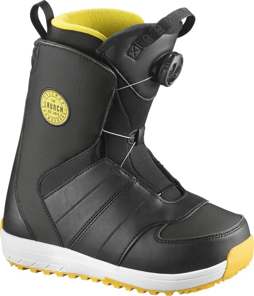 Ботинки для сноуборда Salomon Launch Boa JR, цвет: черный, желтый. Размер 20 (30,5)L39797800Ботинки для сноуборда Salomon Launch Boa Jr предназначены для детей в возрасте 9–13 лет. Ботинки обладают утеплением, комфортом и посадкой взрослой версии. Они имеют классическую стельку с внутренником Bronze, сохраняющим ноги в тепле и комфорте весь день. Шнуровка Boa позволяет затягивать и ослаблять ботинки буквально на лету.Как выбрать сноуборд. Статья OZON Гид
