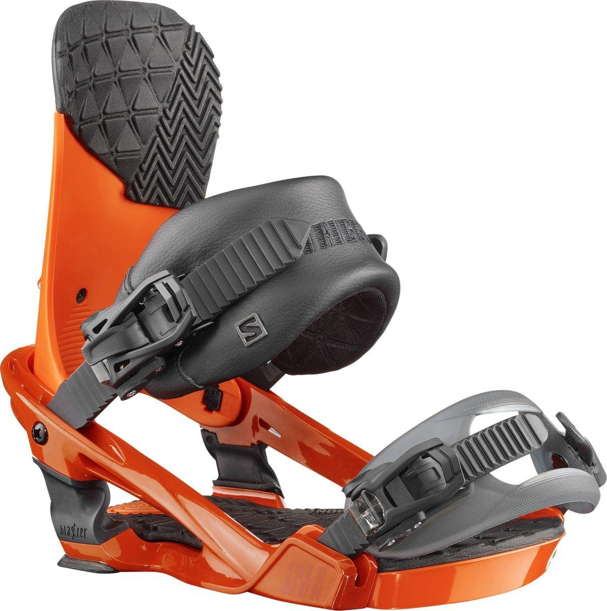 Крепление для сноуборда Salomon Trigger, цвет: оранжевый. Размер ML39836300Абсолютно новые крепления для сноуборда Salomon Trigger средней жесткости, разработанные специально для Криса Гренье, отлично подойдут для фристайла и катания в пайпе. Технология Blaster Tech — интуитивное соединение Freestyle Jib, выполняющее роль динамической подвески, поглощает удары, выравнивает катание и обеспечивает лучшую боковую подвижность. Крепления имеют чемпионскую анатомию и самые необходимые характеристики: новую базу Blaster, стрепы 3D Prime и Lock-In Deluxe Toe, и минималистичный хайбек.
