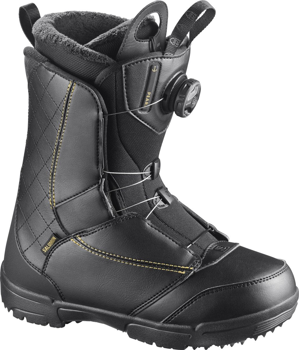 Ботинки для сноуборда Salomon Pearl Boa, цвет: черный, золотистый. Размер 25,5 (39)L39868900Простые, быстрые, женственные - Pearl BOA отличаются потрясающим утеплением, посадкой и долговечностью.