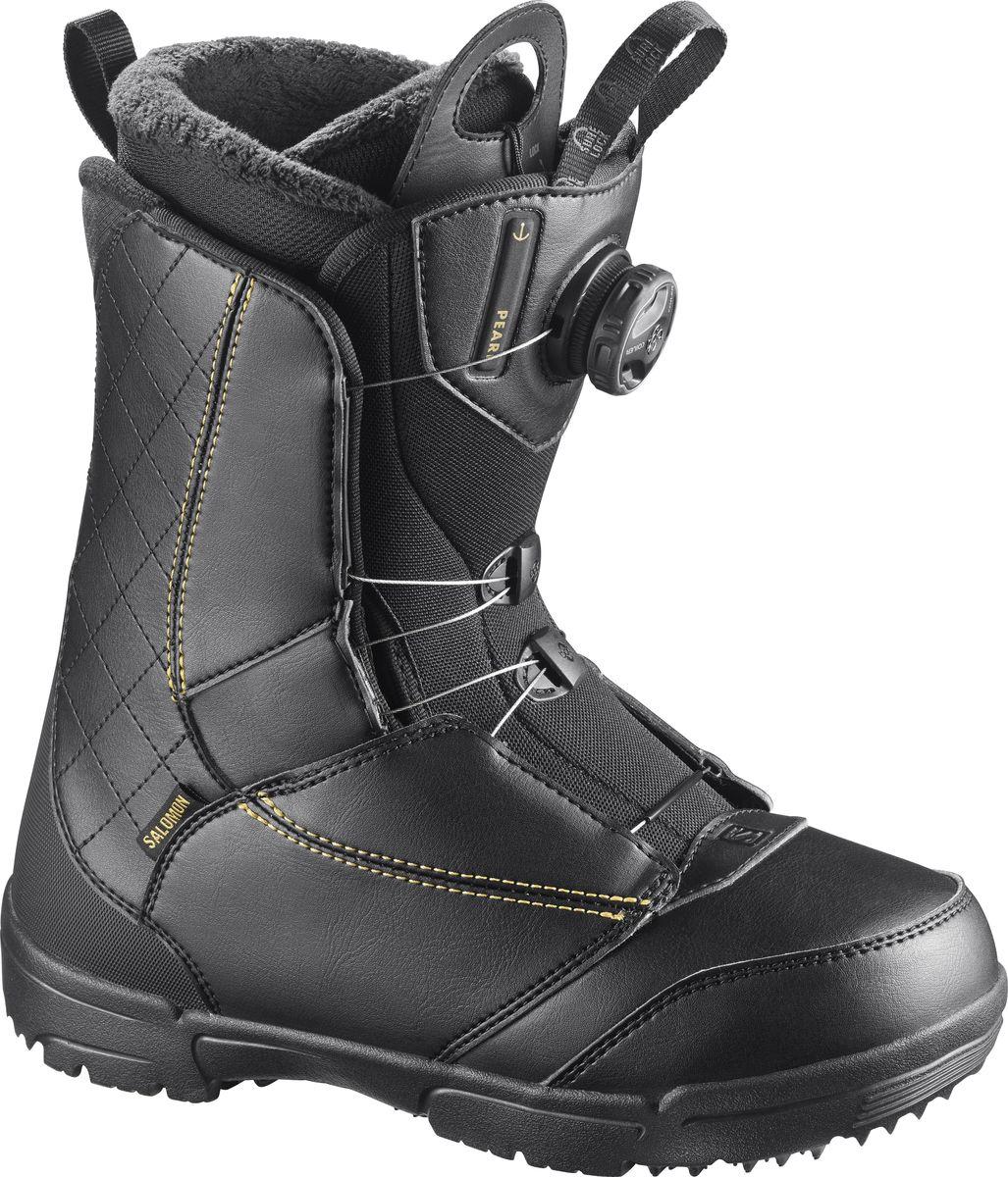 Ботинки для сноуборда Salomon Pearl Boa, цвет: черный, золотистый. Размер 24 (36,5)L39868900Женские сноубордические ботинки Salomon Pearl BOA предназначены для начинающих спортсменов. Простые, быстрые, женственные, ботинки отличаются потрясающим утеплением, посадкой и долговечностью. Небольшая жесткость позволяет начинающим сноубордисткам совершенствовать свою технику катания с комфортом, а шнуровка BOA не отнимет много времени и позволит подогнать ботинок по ноге, не снимая перчаток.