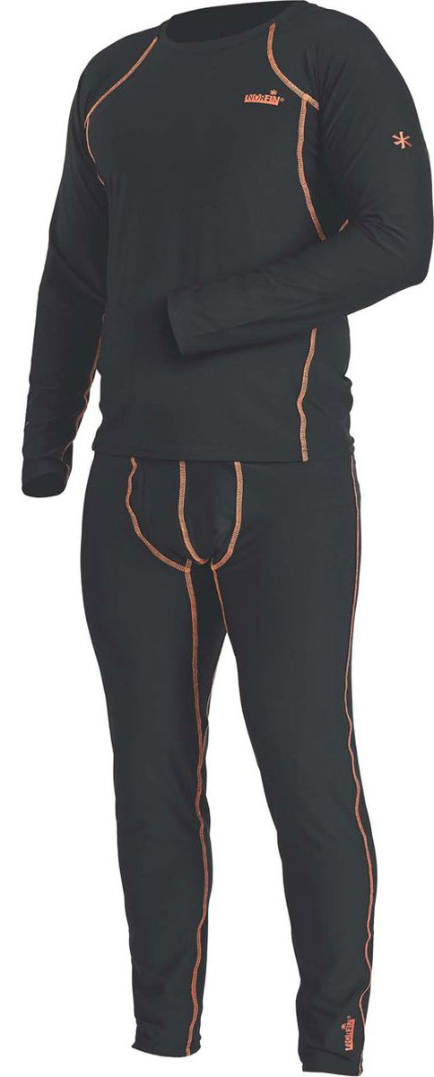 Комплект термобелья мужской Norfin Thermo Line 2, цвет: черный. Размер XL (56/58)30083Комплект термобелья Norfin Thermo Line 2 состоит из лонгслива и кальсон. Термобелье базового слоя сшито так, что совершенно не стесняет движения тела, обеспечивая максимальную эластичность там, где это нужно. Может использоваться для повседневной носки в прохладную погоду, а также идеально защитит от холода на рыбалке, охоте, отдыхе на природе.Кальсоны дополнены эластичным поясом в талии. Лонгслив с длинными рукавами и круглым вырезом горловины. Эластичные манжеты на рукавах и штанах.