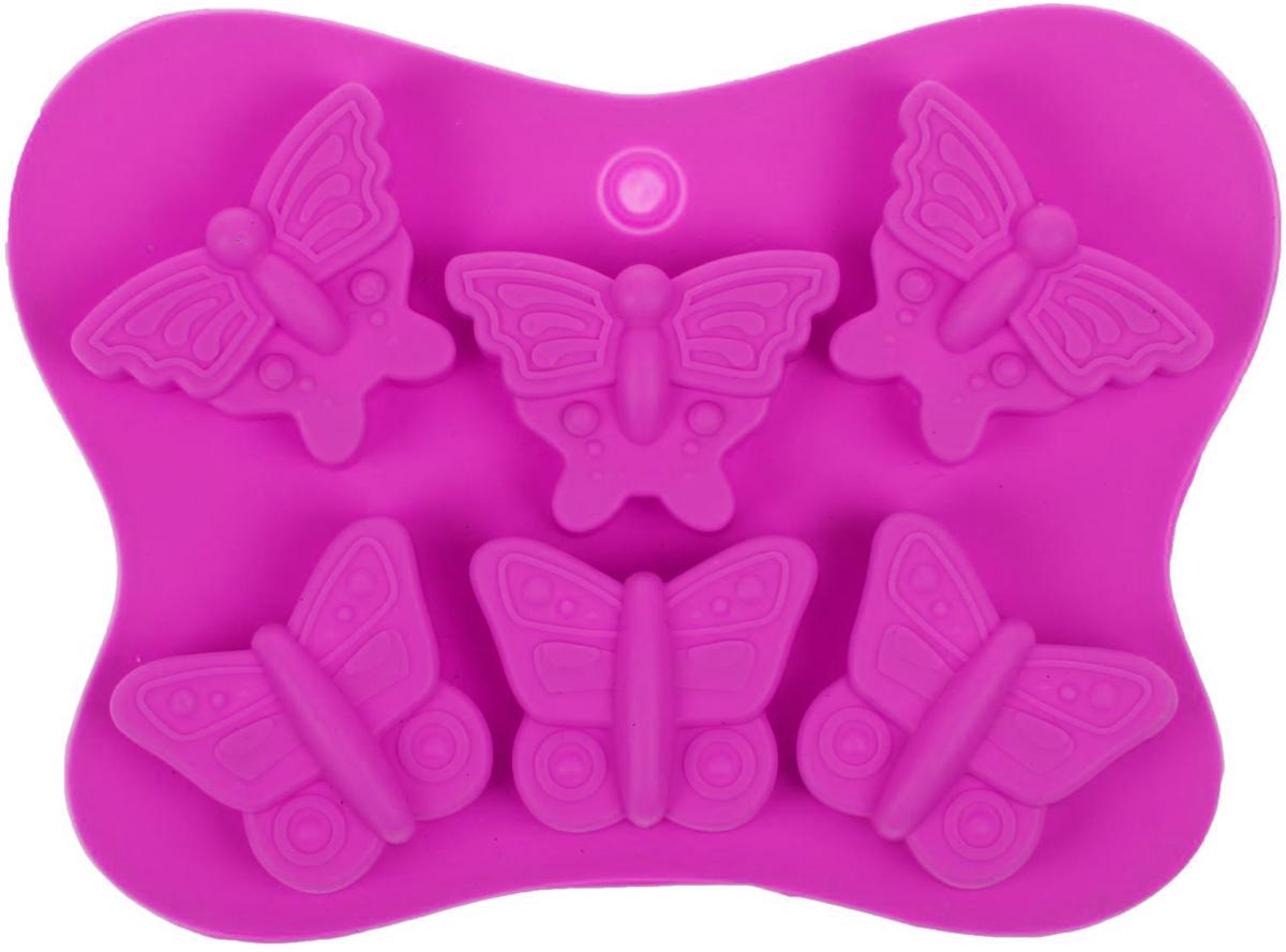 Форма для льда и шоколада Доляна Бабочки, цвет: розовый, 6 ячеек, 14 х 10,5 х 1,5 см1540898_розовыйФигурная форма для льда и шоколада Доляна Бабочки выполнена из пищевого силикона, который не впитывает запахов, отличается прочностью и долговечностью. Материал полностью безопасен для продуктов питания. Кроме того, силикон выдерживает температуру от -40°С до +250°С. Благодаря гибкости материала готовый продукт легко вынимается. С помощью такой формы можно приготовить оригинальные конфеты и фигурный лед. Приготовить миниатюрные украшения гораздо проще, чем кажется. Наполните силиконовую емкость расплавленным шоколадом, мастикой или водой и поместите в морозильную камеру. Вскоре у вас будут оригинальные фигурки, которые сделают запоминающимся любой праздничный стол! Форма легко отмывается, в том числе в посудомоечной машине. Размер ячейки: 4 х 3 см.