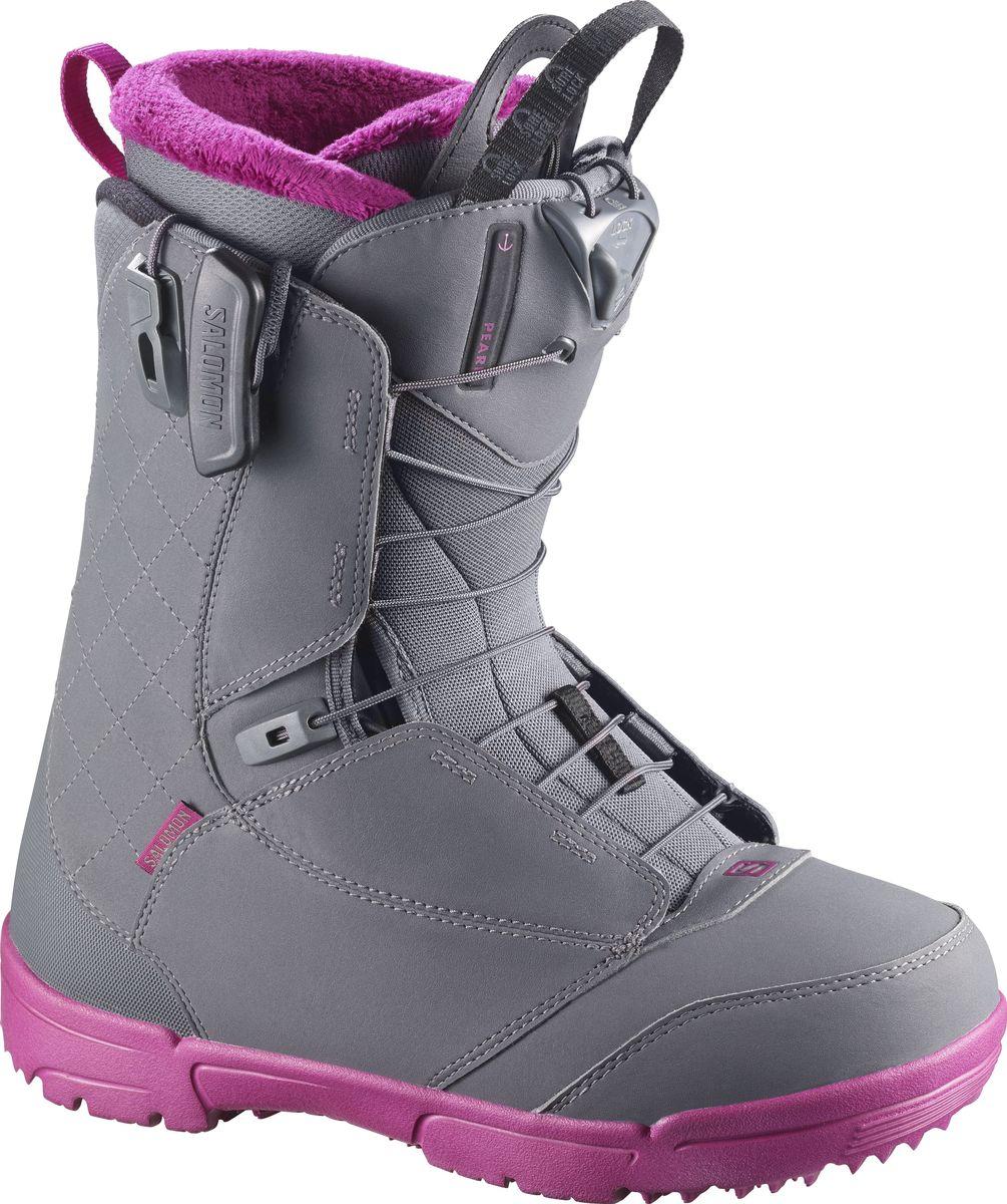 Ботинки для сноуборда Salomon Pearl, цвет: серый. Размер 24 (36,5)L39869900Простота, скорость и женственность – в ботинках Salomon Pearl есть все, чтобы вы могли украсить любой склон. Почувствуйте удобство новой стельки Ortholite C1, обеспечивающей мгновенную посадку и защиту, и в течение всего дня наслаждайтесь комфортным катанием благодаря теплому внутреннему ботинку Silver. Внутренник Silver идеально подгоняется под анатомические особенности ног райдера при температуре тела и надолго сохраняет оптимальную форму, а низкая жесткость позволяет комфортно кататься долгое время и облегчает обучение.